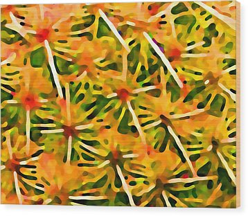 Cactus Pattern 2 Yellow Wood Print by Amy Vangsgard