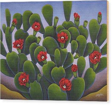 Cactus Roses Wood Print
