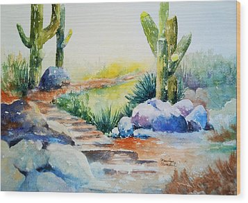 Cactus Trail Wood Print