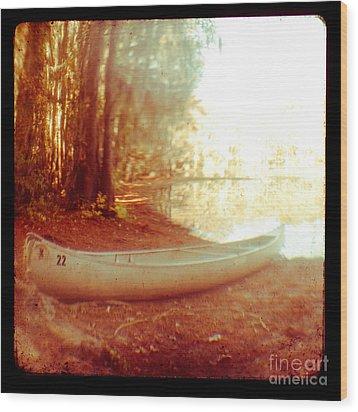 Caddo Canoe Wood Print by Sonja Quintero