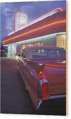 Caddy At Diner Wood Print by Christian Heeb