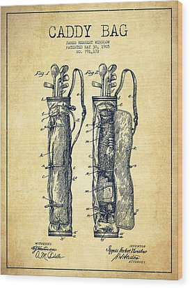 Caddy Bag Patent Drawing From 1905 - Vintage Wood Print by Aged Pixel