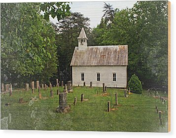 Cades Cove Church Wood Print by Marty Koch