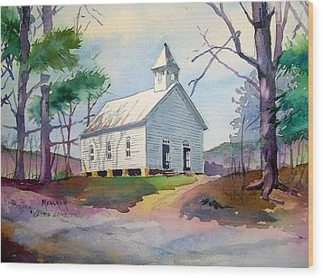 Cades Cove Church Wood Print by Spencer Meagher