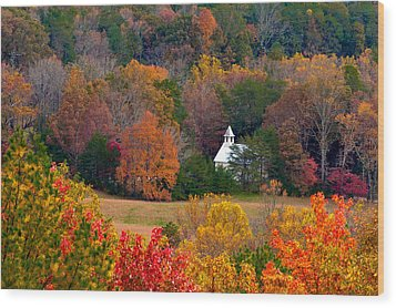Wood Print featuring the photograph Cades Cove Church by Tyson and Kathy Smith