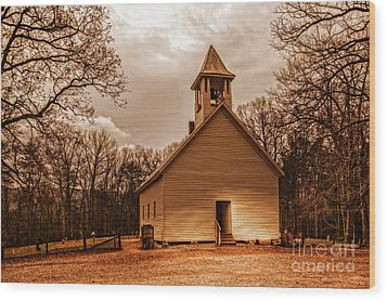 Cades Cove Primitive Baptist Church Wood Print