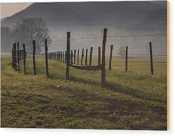 Wood Print featuring the photograph Cades Cove Sunrise by Jay Stockhaus