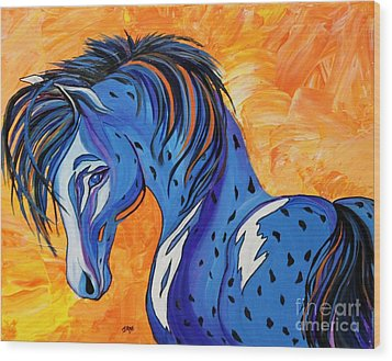 Wood Print featuring the painting Cadet The Blue Horse by Janice Rae Pariza