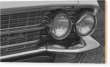 Cadillac Grill And Lights B/w Wood Print by Mick Flynn