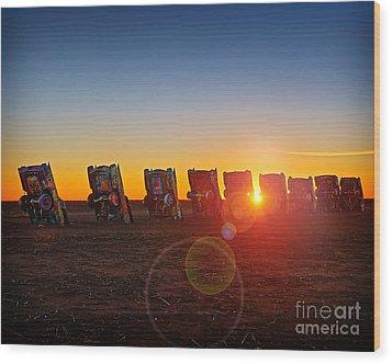 Cadillac Ranch Sunset Wood Print by Martin Konopacki
