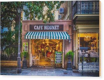 Cafe Beignet Morning Nola Wood Print