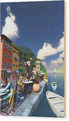 Cafe By The Sea Wood Print