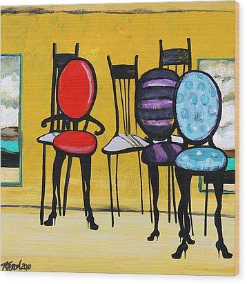 Cafe Chairs Wood Print by Karon Melillo DeVega