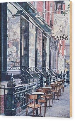 Cafe Della Pace East 7th Street New York City Wood Print by Anthony Butera