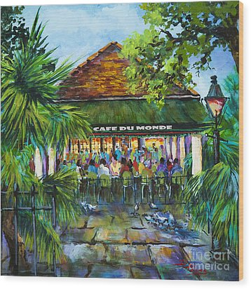 Wood Print featuring the painting Cafe Du Monde Morning by Dianne Parks