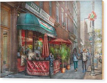 Cafe - Hoboken Nj - Vito's Italian Deli  Wood Print by Mike Savad