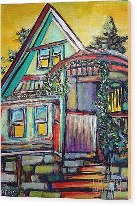 Cafe In Revelsoke Bc Canada Wood Print by Aeris Osborne