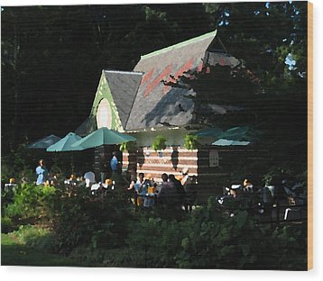Cafe In The Trees Wood Print