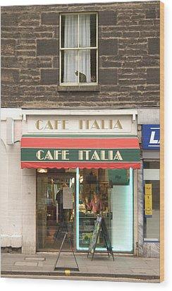 Cafe Italia Wood Print by Mike McGlothlen