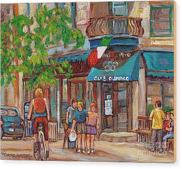 Cafe Olimpico-124 Rue St. Viateur-montreal Paintings-sports Bar-restaurant-montreal City Scenes Wood Print by Carole Spandau