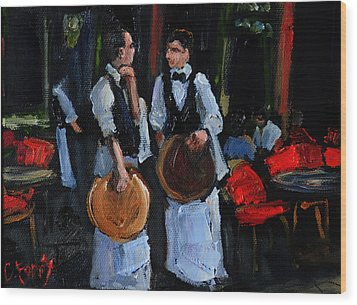 Cafe Philosophers Wood Print by Carole Foret