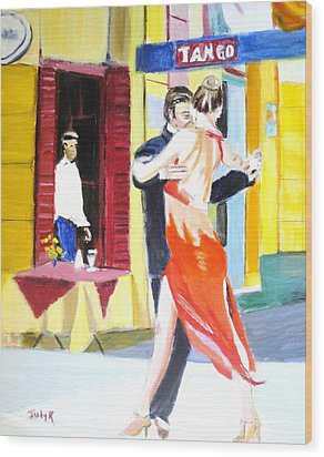 Wood Print featuring the painting Cafe Tango by Judy Kay