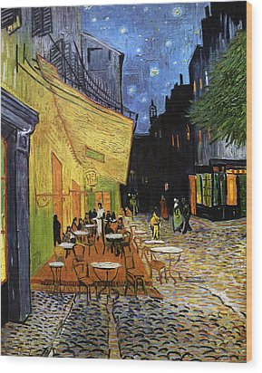 Cafe Terrace At Night Reproduction Art Work Wood Print by Vincent van Gogh
