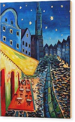 Cafe Terrace In Landshut - Inspired By Van Gogh Wood Print by M Bleichner