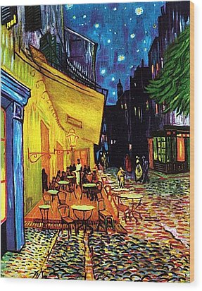Wood Print featuring the painting Cafe Terrace Place Du Forum At Night  by Vincent Van Gogh