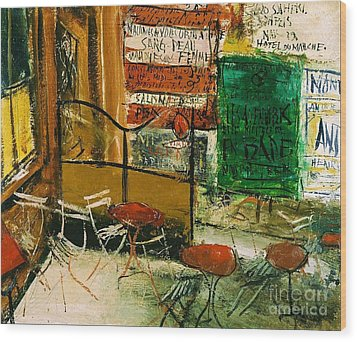 Cafe Terrace With Posters Wood Print by Pg Reproductions