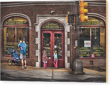 Cafe - The Italian Bakery Wood Print by Mike Savad