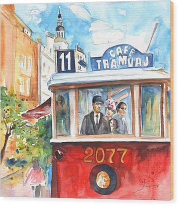 Cafe Tramvaj In Prague Wood Print by Miki De Goodaboom