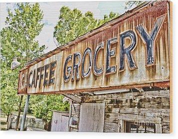 Caffee Grocery Wood Print by Scott Pellegrin