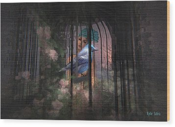 Caged Bird Wood Print