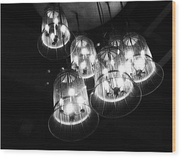 Caged Lights Wood Print by Kaleidoscopik Photography