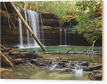 Cainey Creek Falls Wood Print by Scott Moore