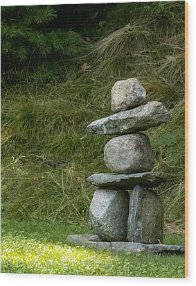 Cairn Georgetown Me Wood Print by Ann Tracy