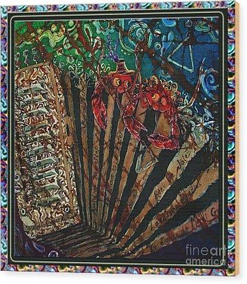 Cajun Accordian - Bordered Wood Print by Sue Duda