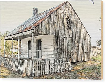Cajun Cabin Wood Print by Ronald Olivier