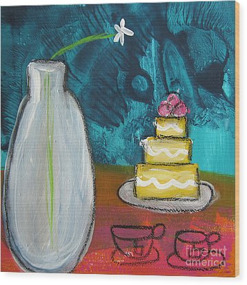 Cake And Tea For Two Wood Print by Linda Woods