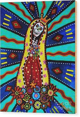 Wood Print featuring the painting Calavera Virgen by Pristine Cartera Turkus
