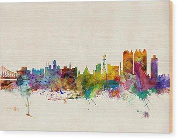 Calcutta India Skyline Wood Print by Michael Tompsett