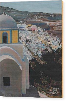 Caldera Church Santorini Wood Print by Debra Chmelina