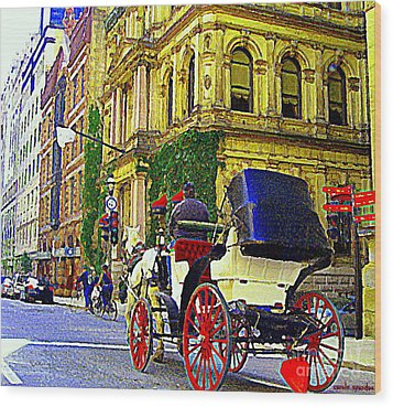 Caleche Ride By The Hotel Le St James Vieux Port Montreal Old World Charm And Elegance C Spandau Art Wood Print by Carole Spandau