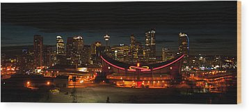 Calgary At Night Wood Print by Guy Whiteley