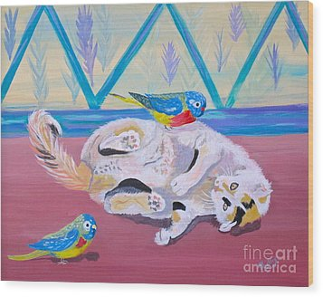 Calico And Friends Wood Print by Phyllis Kaltenbach