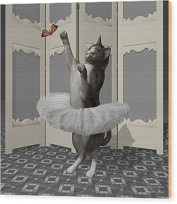 Calico Ballet Cat On Paw-te Wood Print by Andre Price