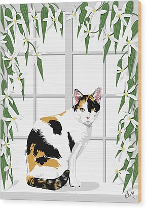 Calico Cat And Clematis Wood Print