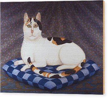 Calico Cat Portrait Wood Print by Linda Mears