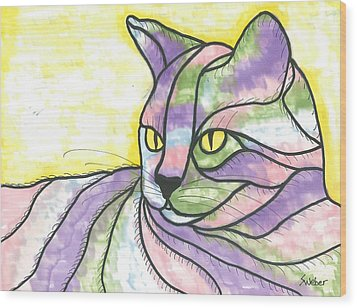 Wood Print featuring the painting Calico Cat by Susie Weber